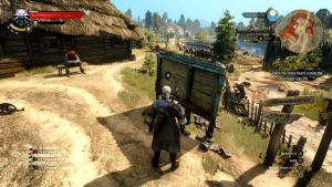 Witcher 3 gameplay - Geralt standing in front of a notice board.