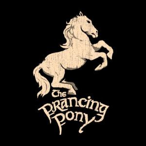 Signage for the Inn of the Prancing Pony. It's a horse rearing.