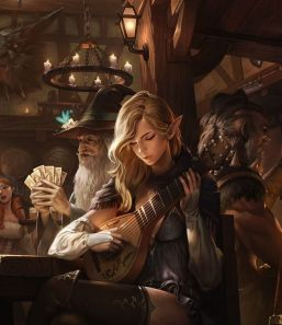 Attractive female bard playing a lyre next to a wizard playing cards in a tavern.