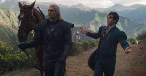 Geralt ignoring Jaskier as he talks.