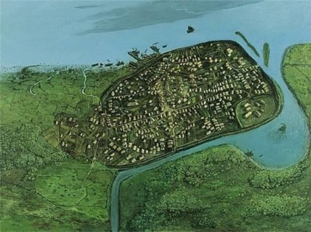 A reconstructed elevated view of Dublin during the early part of the 11th century. Image source: www.olddublintown.com