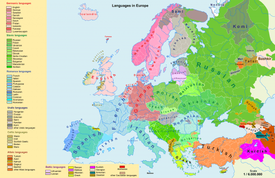 Current Linguistic Map Of Europe. Image Source: Www.commons.wikimedia.org
