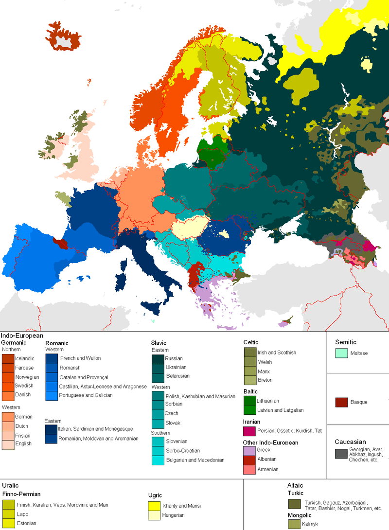 Linguistic Maps Of Europe Languages Of Europe - French map of europe