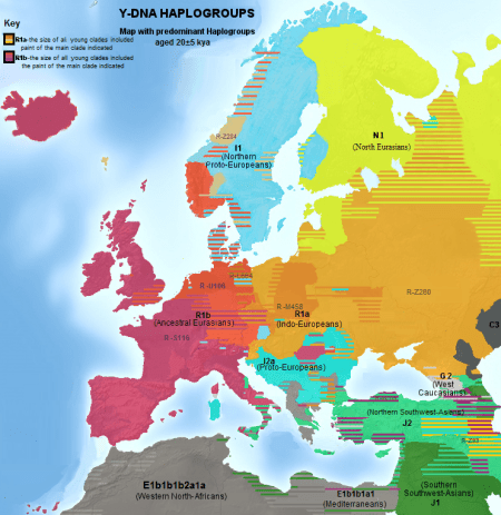 Detailed map of Europe depicting dominant Y-DNA haplogroups. image source: www.commons.wikimedia.org