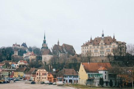 The old town of Sighisoara as seen on a rainy day.