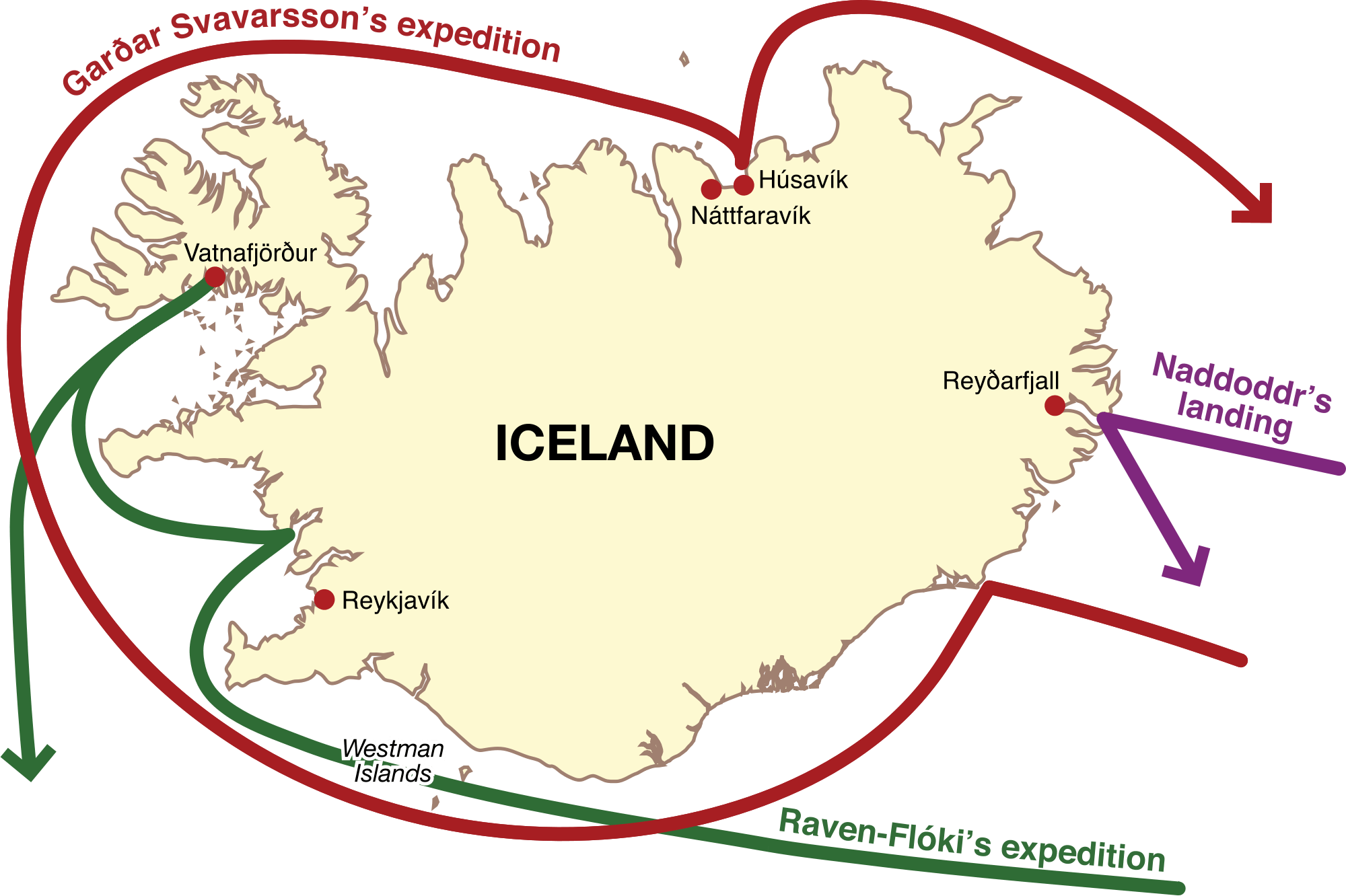 The norse discovery and settlement of iceland during the viking age map highlighting the norse expeditions to iceland during the 9th century image source commonsmedia gumiabroncs Images