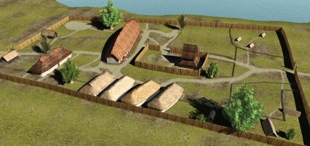 3D reconstructed elevated view of some longhouses in the settlement from the Viking Age. Image source: www.docplayer.dk