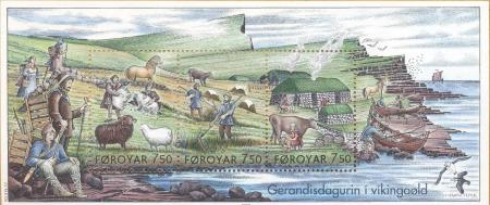 A Faroese stamp depicting daily life during the Viking Age. Image source: www.wikimedia.org