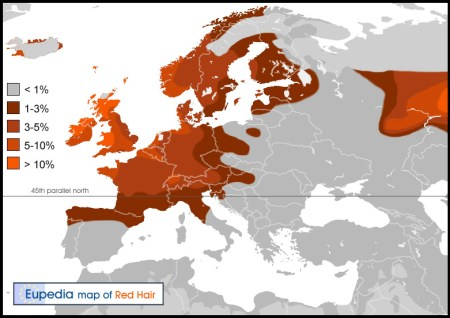 Frequency and distribution of the red hair gene in Europe. Image source: www.eupedia.com