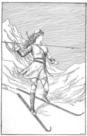 'Skadi hunting in the mountains' by H.L.M. | Foster, Mary H. 1901. Asgard Stories: Tales from Norse Mythology. Silver, Burdett and Company. Page 79. Image source: www.commons.wikimedia.org