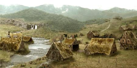 Artistic depiction of a Viking Age village by Vladimir Teneslav on Deviantart. Image source: www.vladimirteneslav.deviantart.com