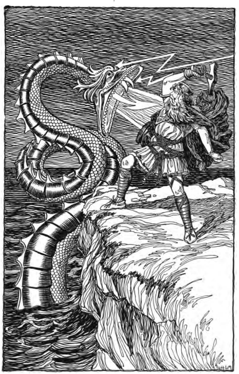 Ancient dragons in the norse mythology and scandinavian folklore artistic depiction of thor fighting the sea serpent from asgard stories tales from norse mythology by foster mary h 1901 page 105 biocorpaavc Images