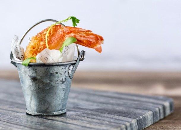 fried shrimp in a bucket