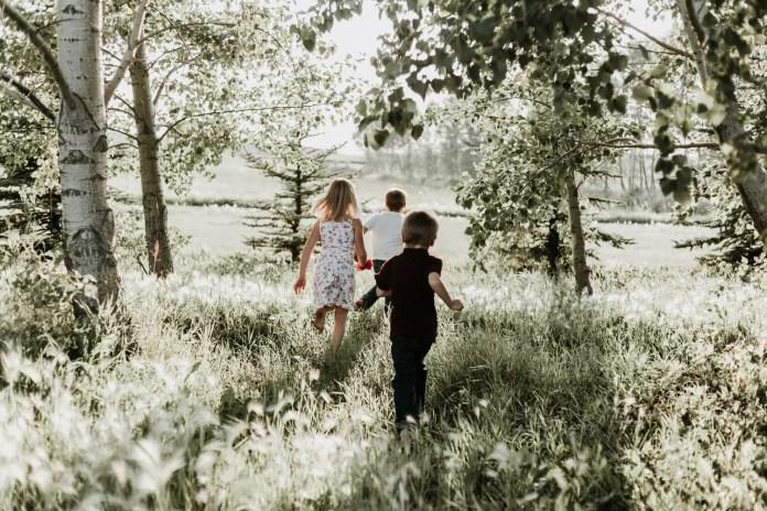 Children Playing/running in field 1500 x 1000