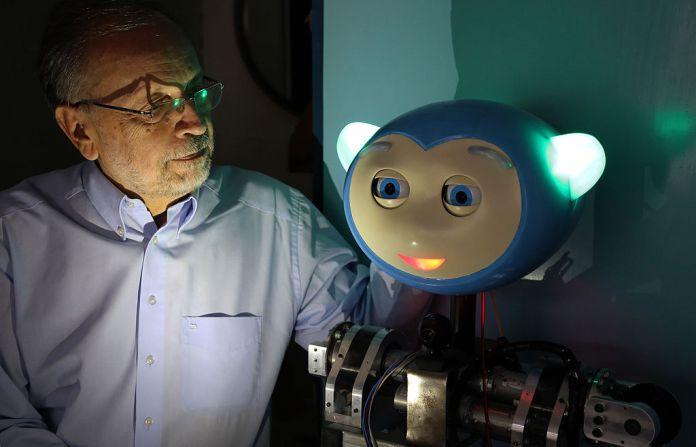 professor and emotional robot