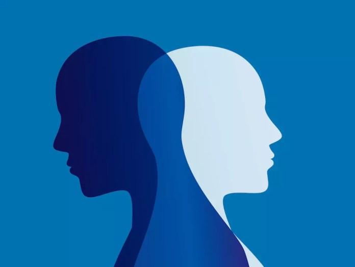 Bipolar disease blue white silhouettes on blue background 1000 x 753