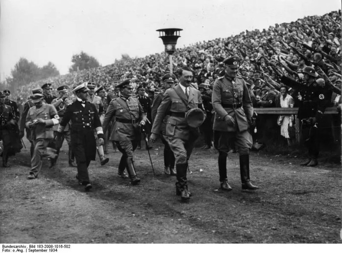 Black and White photo of Hitler at Nurnberg Nazi Party Rally 800 x 592