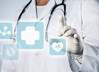 Doctor in white coat with digital health icons (1073 x 678)