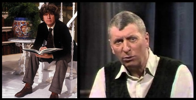 Left: Baker in The Book Tower, 1978; Right, reading The Iron Man in Jackanory, 1985