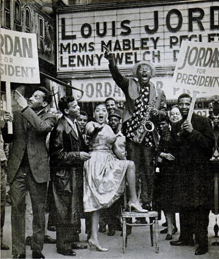 Louis Jordan campaigning at the Apollo Theater
