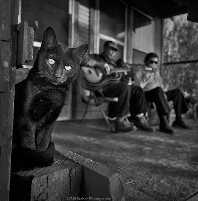 Bluesmen Jack Owens and Bud Spires in Bentonia, Mississippi, hometown of Skip James. Photo by Bill Steber.