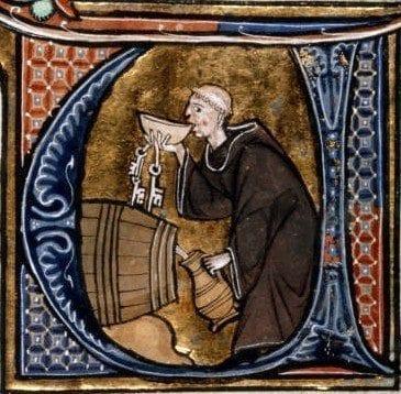 monk drinking wine