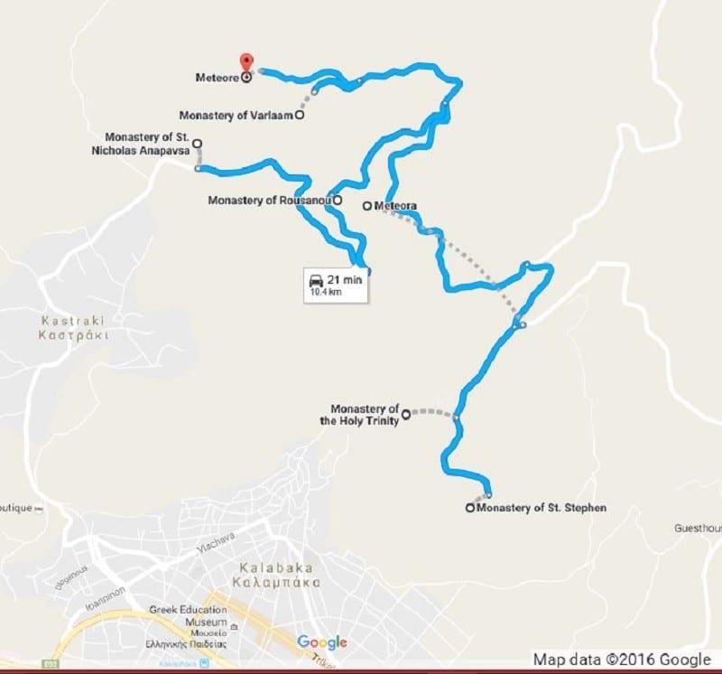 map pf Meteora Monasteries and towns below