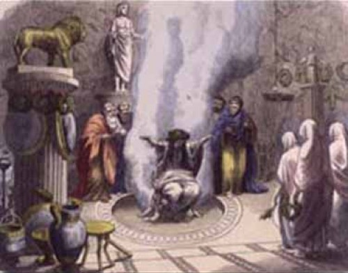 Artist depiction, oracle of Delphi