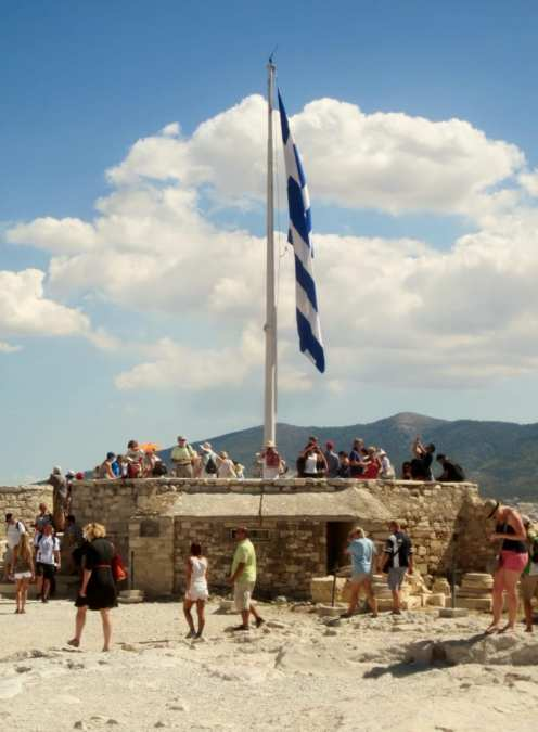 Flag at the back of the Acropolis