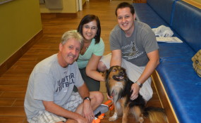 Leo and his new family, Bruce, Nina and their son!