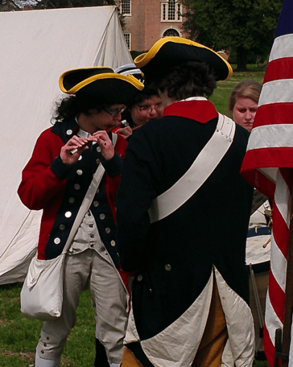 The fife and drums getting ready.