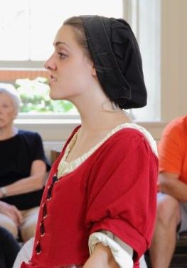 Bridget Bishop defends herself against the charges of witchcraft