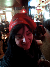 Tracey lovers her hat.