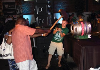 Not your traditional keg tapping form.