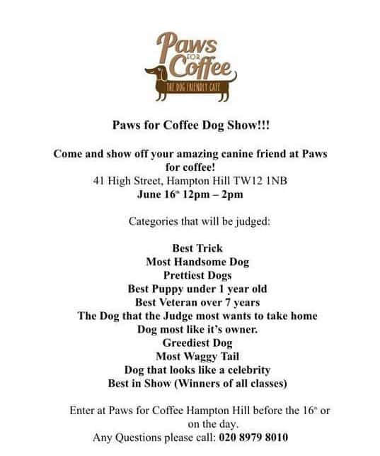 London Dog Events - Paws For Coffee Dog Show June 2018