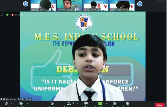 MES Indian School Middle Section organises debate competition