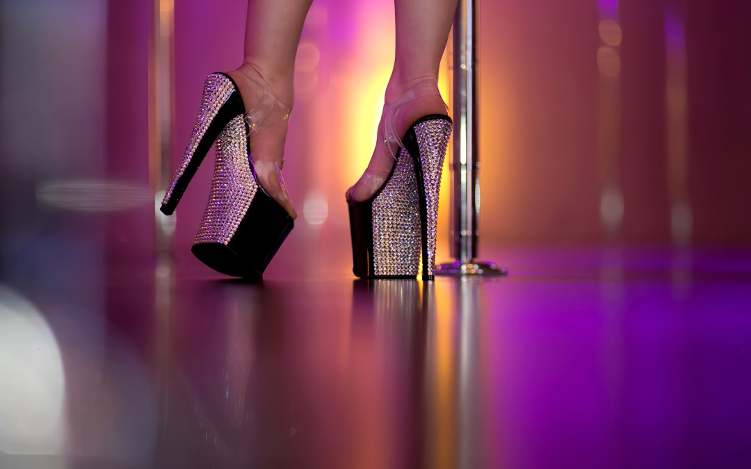 Rhinestone exotic pole dance heels