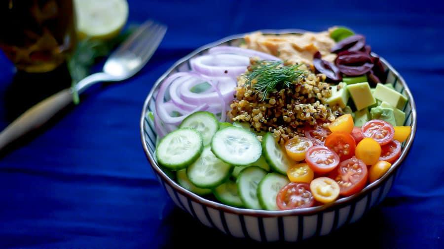 mediterranean plant power bowl healthy lunch idea
