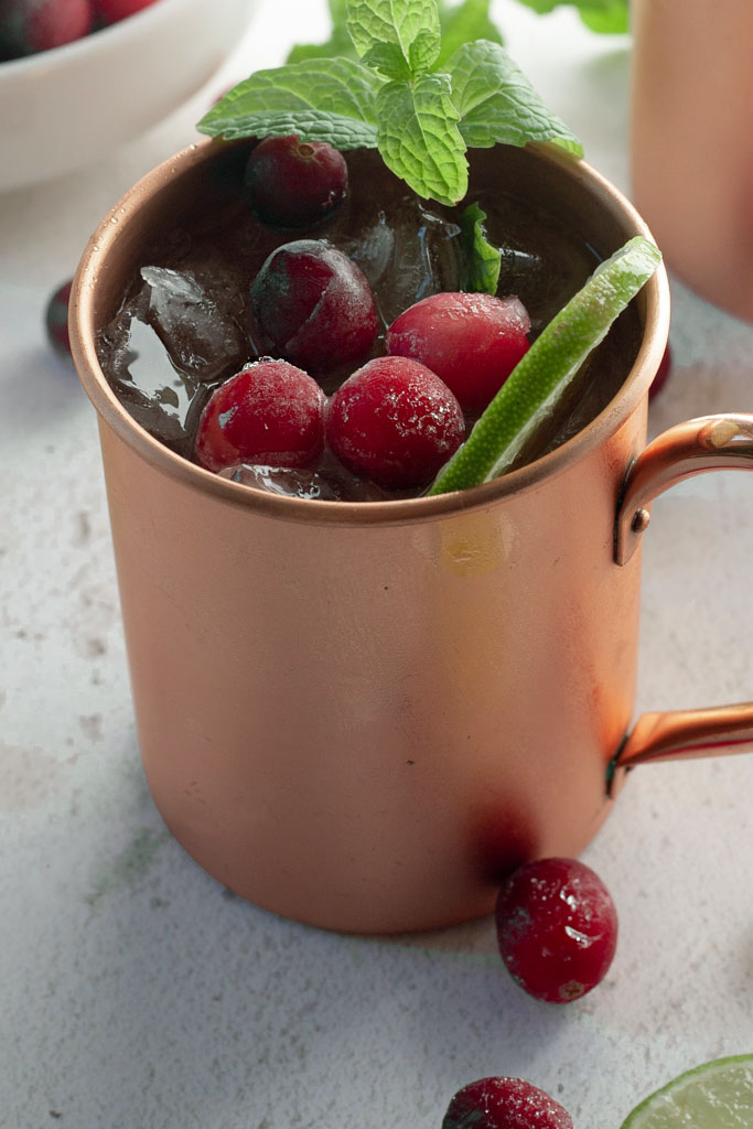 close up cranberry Moscow Mule mocktail