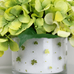 St. Patricks Day Tablescape: DIY Shamrock Floral Arrangement Centerpiece using supplies from Walmart