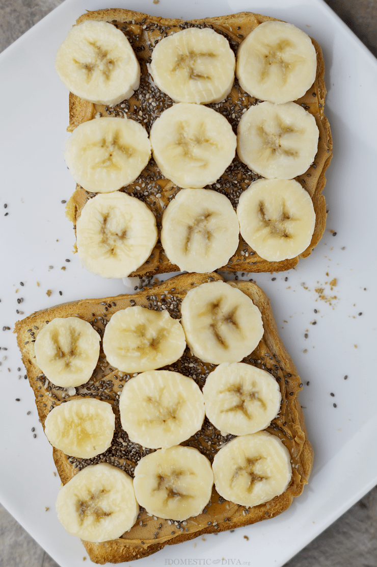 The Ultimate Toast Topping Combination: Peanut Butter, Banana, & Chia Seeds drizzled with Honey (recipe)