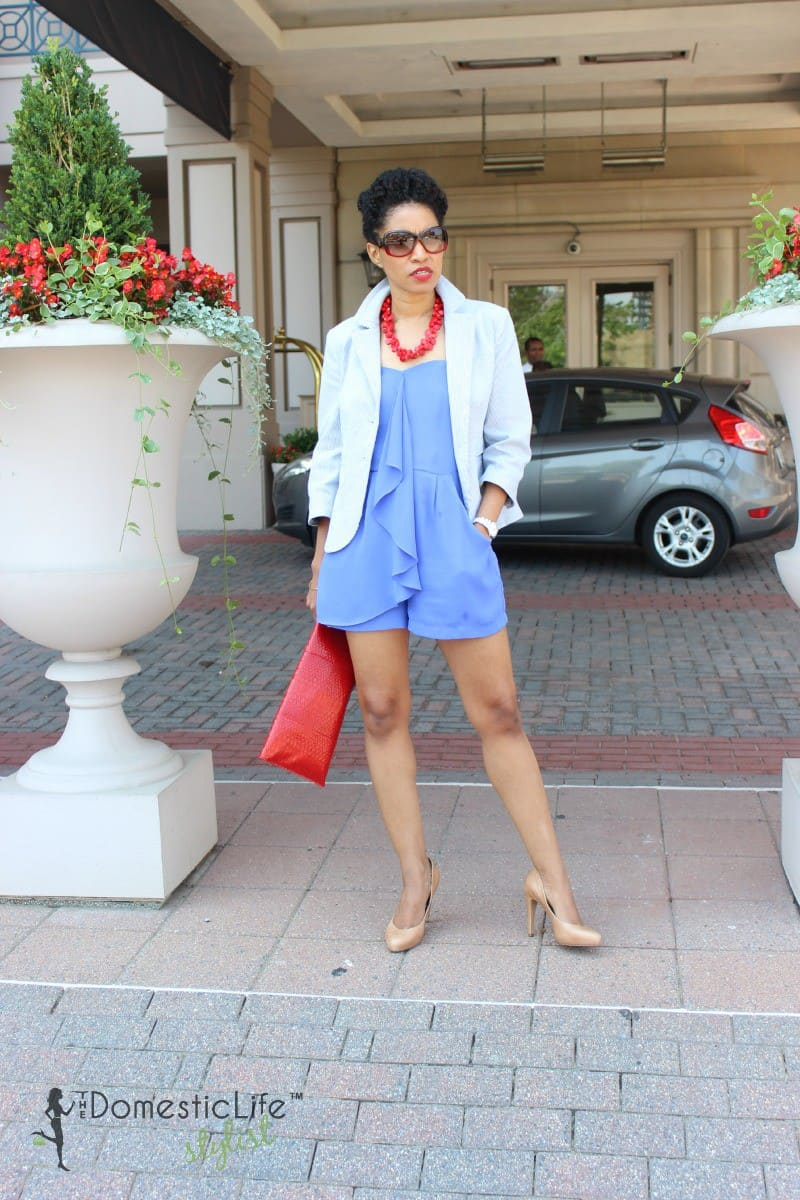 blue romper with blazer 2