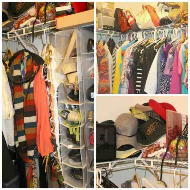 disorganized closet collage