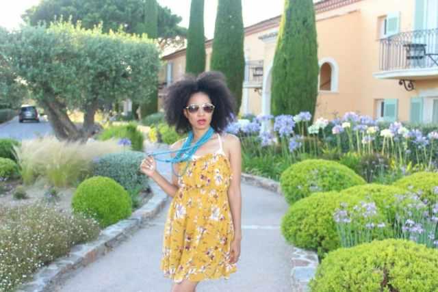mustard short sleeveless free people floral dress at chateau de la Messardiere6