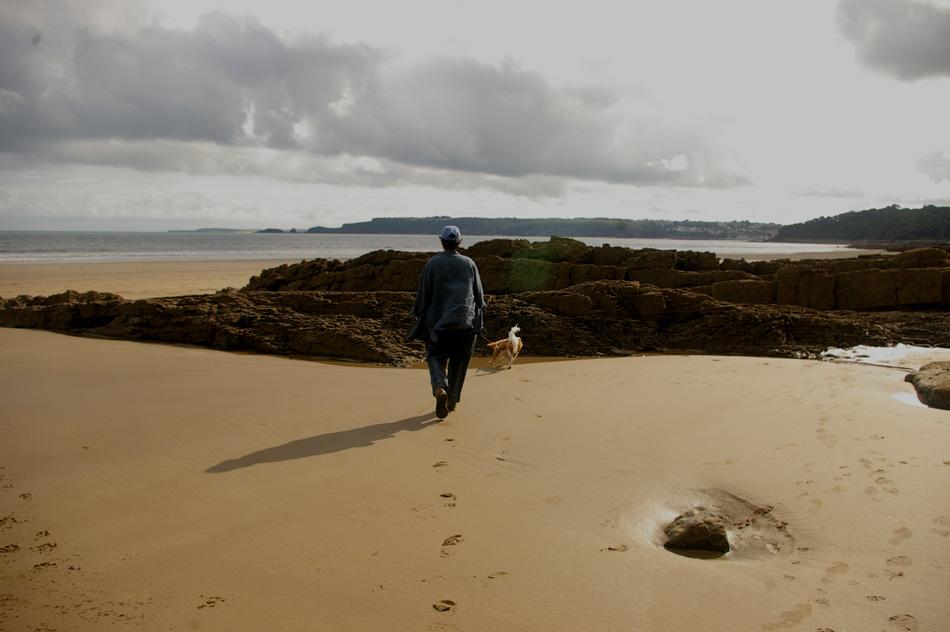 Brenda on the beach at Amroth