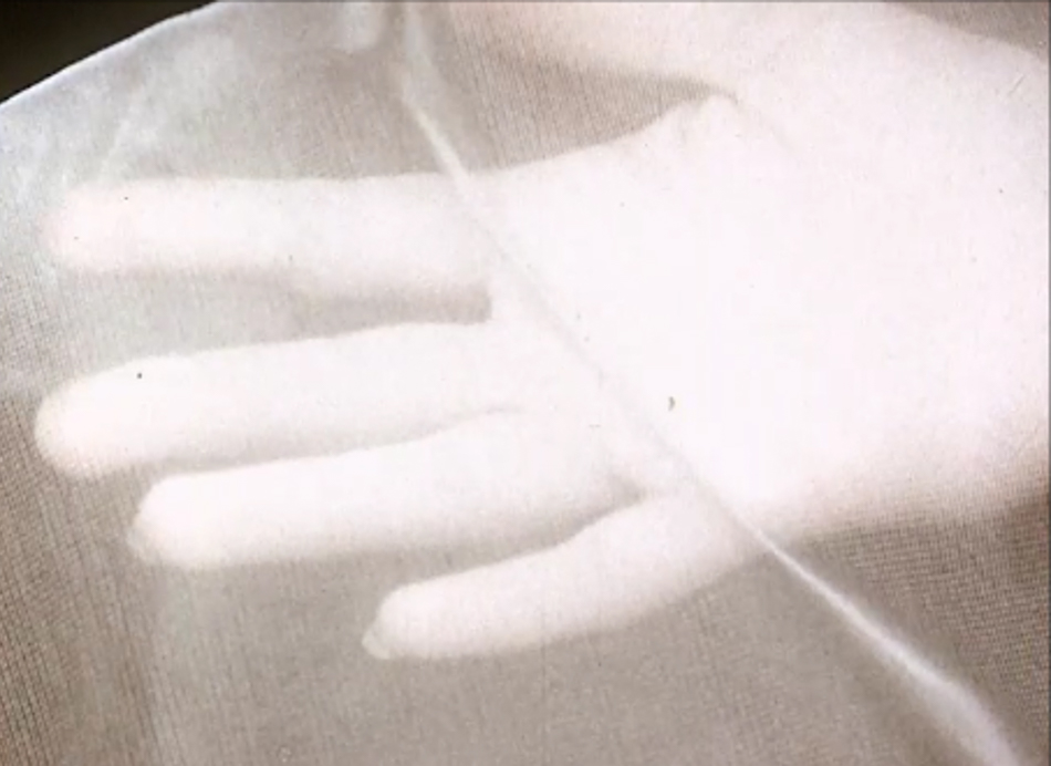 Still from a US film about the textile industries of America made in 1953, 'Greater Goal: The Human Dividends from American Industry'