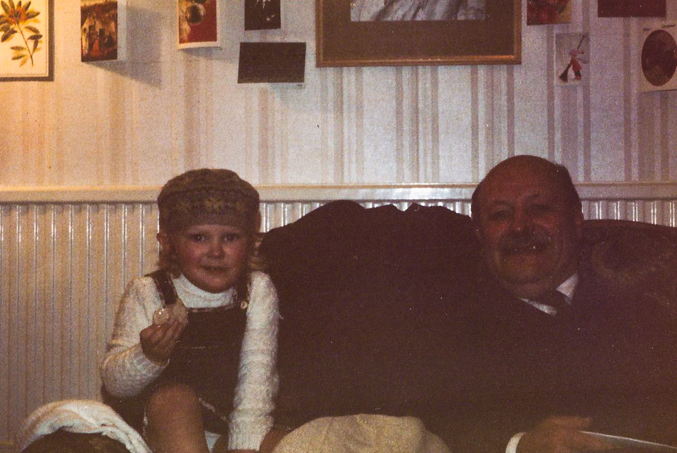 Me and Grandad at Aunty Hilary's house, that tam I am wearing had a C&A label in it and I remember it well