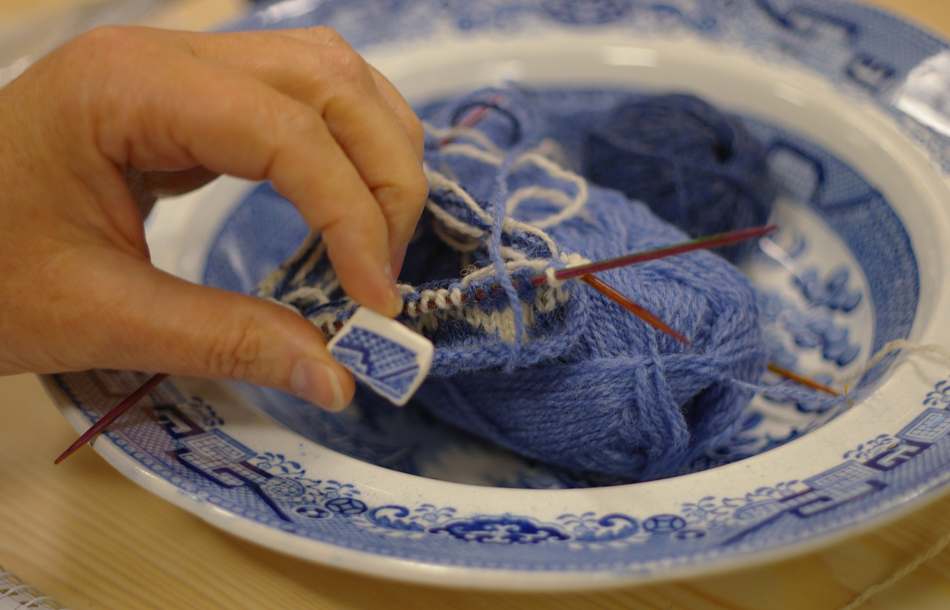 Willow-pattern china translated into stranded colourwork by Deborah Gray at Shetland Wool Week 2013