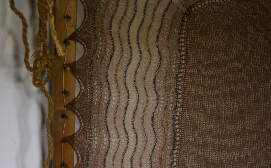 Shetland Hap, blocking on a stretcher at the Shetland Croft House Museum