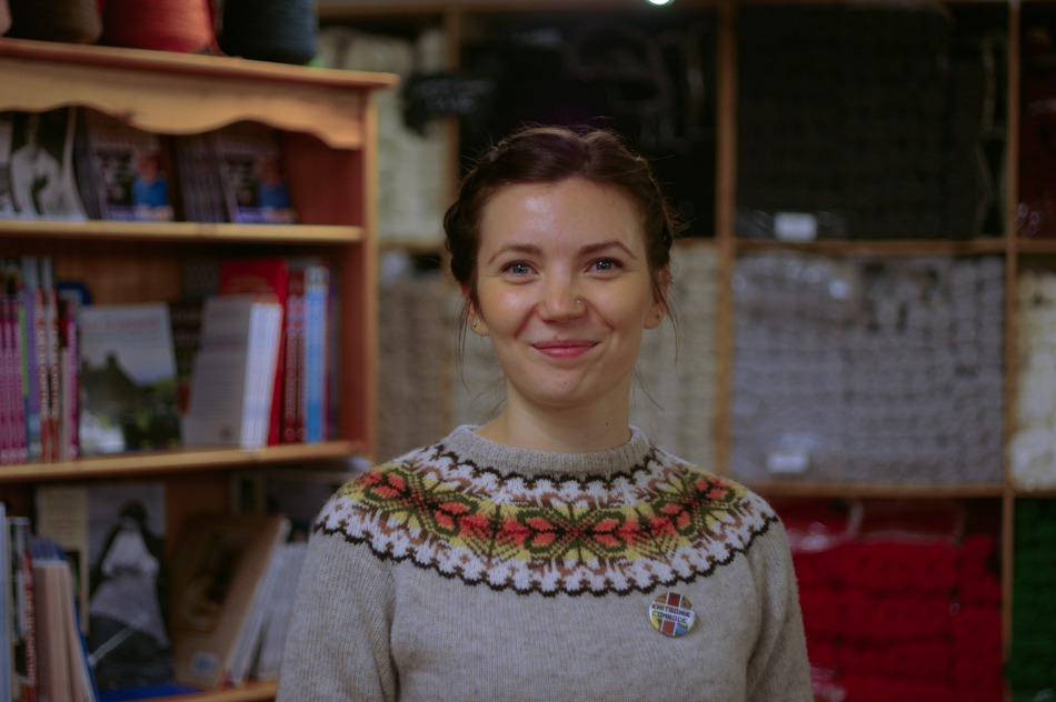 Ella Gordon in a beautiful Fair Isle yoke sweater - Ella and Kate's talk about vintage knitwear was a highlight of Shetland Wool Week this year